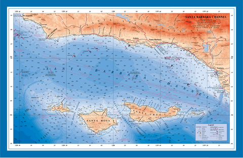 Santa Barbara Channel nautical chart art poster