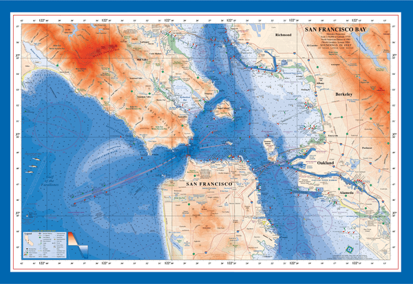 San Francisco Bay nautical chart art