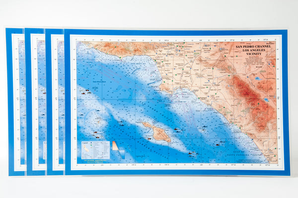 San Pedro Channel nautical chart art placemat