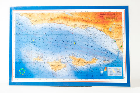 Santa Barbara Channel nautical chart art placemat
