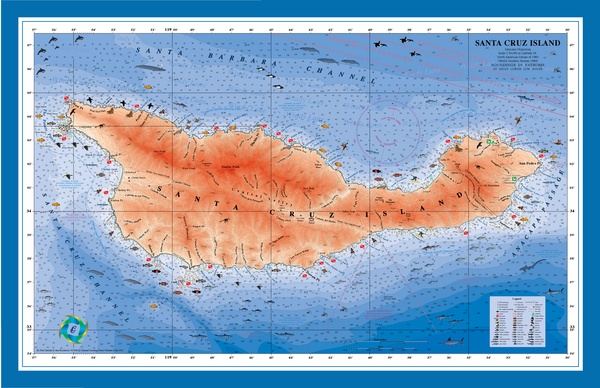 Santa Cruz Island nautical chart art