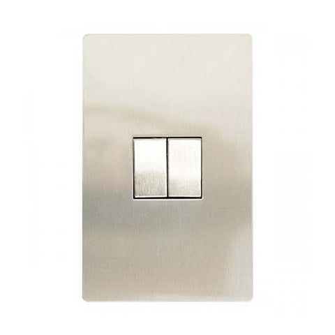 CBi Brushed Stainless Steel 2 Lever 2-Way Light Switch v1s/jos42/ss2g2w