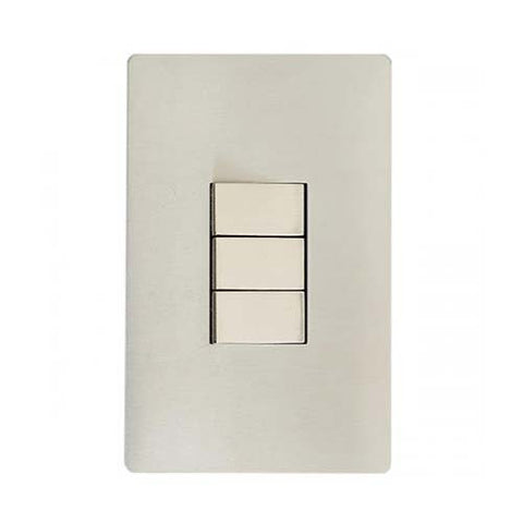 CBi Brushed Stainless Steel 3 Lever 2-Way Light Switch v1s/jos42/ss3g2w