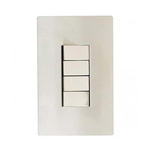 CBi Brushed Stainless Steel 4 Lever 2-Way Light Switch v1s/jos42/ss4g2w