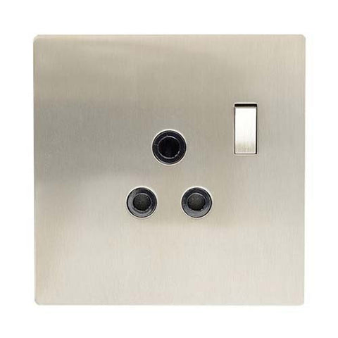 CBi Brushed Stainless Steel Single Switched Socket v1s/jos44/sssss