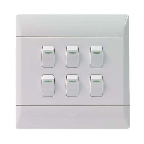 CBi PVC 6 Lever Light Switch L127-P