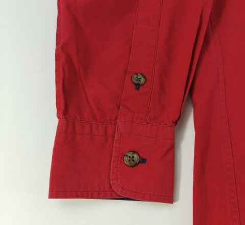 Burberry Red Long Sleeve Button Up