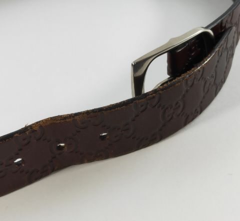 Gucci GG Monogram Belt (Brown)