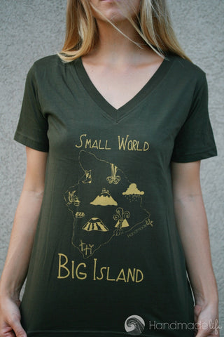 Small World Big Island Tee in Olive