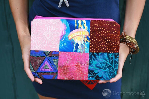 Patchwork Zipper Pouch in Pink