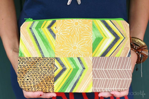 Patchwork Zipper Pouch in Lime