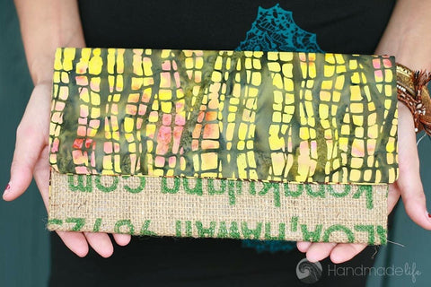 Handcrafted Snap Clutch - Forest