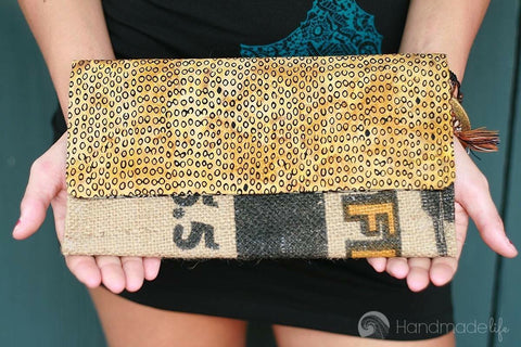 Handcrafted Snap Clutch - Leopard