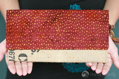 Handcrafted Snap Clutch - Dots