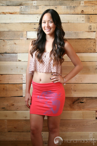 I'm a Mermaid Mini Skirt/Tube Top in Coral