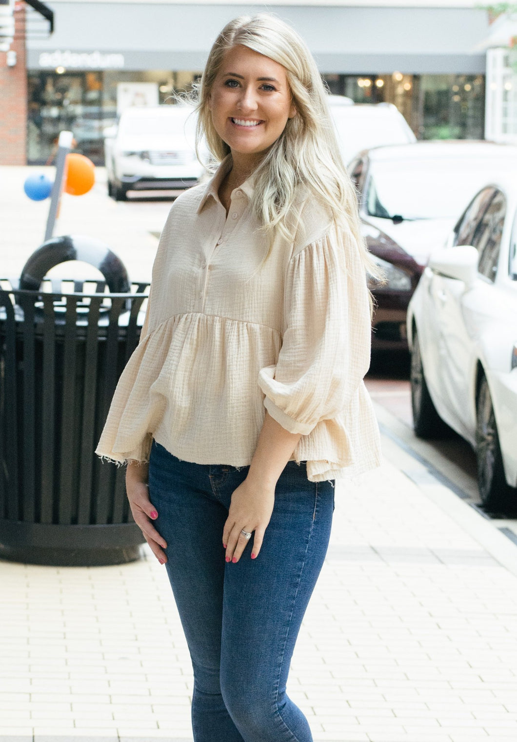 Baby Doll Button Down Top-Liz + Lee Boutique