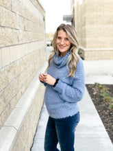Load image into Gallery viewer, Breezy Blue Popcorn Turtle Neck-Liz + Lee Boutique