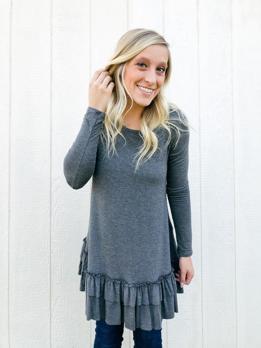 Go With The Flow Top - Grey-Liz + Lee Boutique
