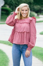 Load image into Gallery viewer, Holly Berry Smocked Top-Liz + Lee Boutique