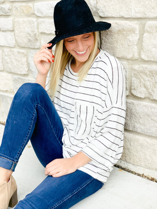 Indy Striped Pocket Top-Liz + Lee Boutique