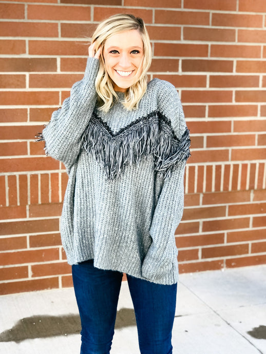 Northern Lights Fringe Sweater-Liz + Lee Boutique