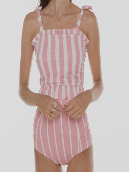 PINK PINSTRIPED SWIM TOP-Liz + Lee Boutique
