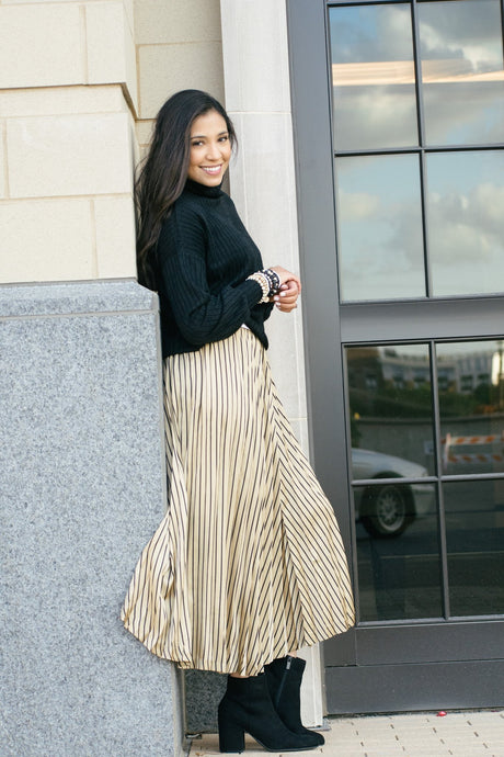 Pinstriped Pleaded Skirt-Liz + Lee Boutique