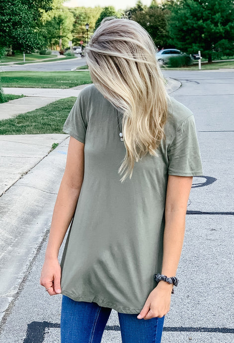 Plain Jane Round Neck Top - Olive-Liz + Lee Boutique