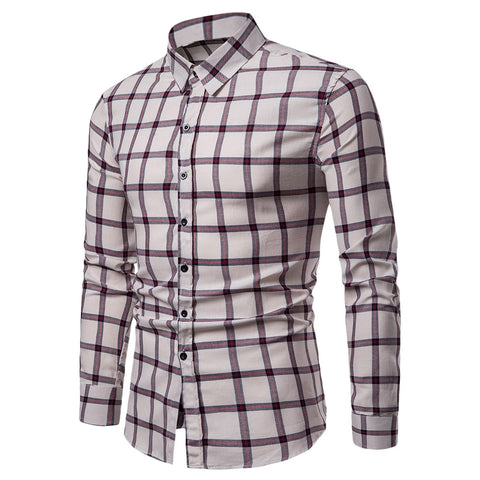 Men Plaid Shirt Long Sleeve Slim Fit Style Casual Button Up Male Clothes 10908