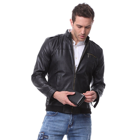 Stand Collar Long Sleeve Zipper Leather Men Jacket 11043