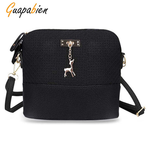 Guapabien Fashionable Plaid Pattern Small Deer Pendant Shell Shoulder Women Handbag 11174