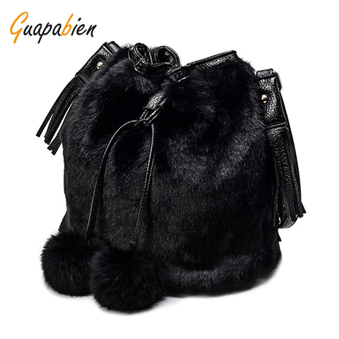 Guapabien Women Drawstring Fuzzy Balls Shoulder Crossbody Bucket Bag 11265