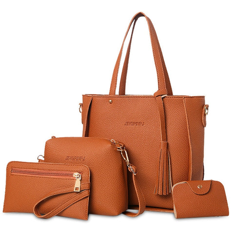 4 Pieces Tassel Tote Bag Set 16164