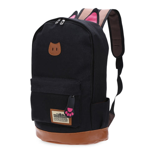 Guapabien Preppy Style Cat Patchwork Canvas Zipper Girl Portable School Backpack 16186