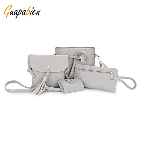 Guapabien PU Leather Shoulder Bag Card Holder Handbag 4pcs Bags for Women 16197
