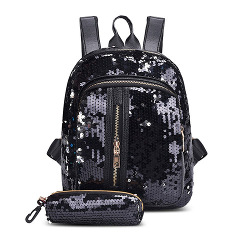 Guapabien Fashion Sequins Backpack Two-piece Backpack  for Women 16207