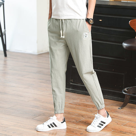 2019 Latest  pure color  young Fashion  slim fit Casual Trousers Casual Trousers 16781