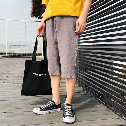 2019 Latest  pure color  Fashion  slim fit Casual Trousers Casual Trousers