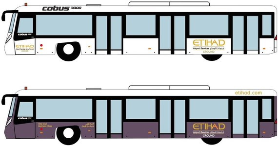 1:400 FANTASYWINGS ETIHAD AIRPORT BUS SET OF 4