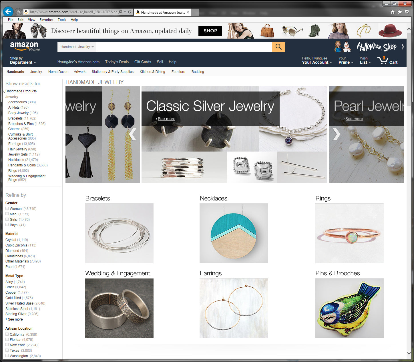 Displayed on the front page of Amazon Handmade Jewelry