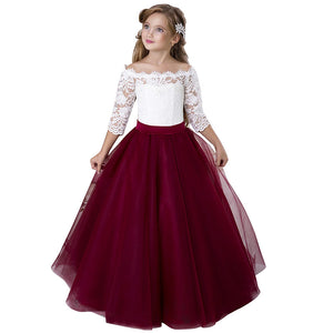 Big Girl Flower Lace Princess Tulle Long Dress for Kids Prom Formal Pageant Dance Gown Pageant Party Dresses For 2-12 Year Old