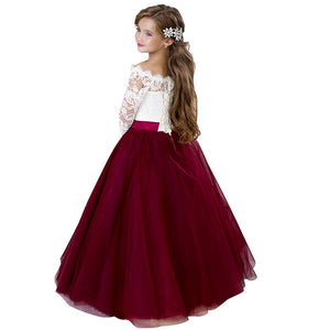 Big Girl Flower Lace Princess Tulle Off-the-shoulder Long Dress for Kids Prom Formal Pageant Dance Two-tone  Dresses