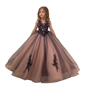 Girl Princess Christmas Flower Lace Pageant Dress Long Sleeveless  Communion Prom Floor Length Puffy Tulle Evening Dance Gown for Girls  2-12 Year Old