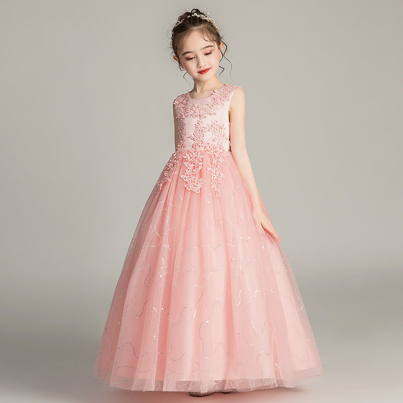 Flower Girl Dresses Fancy Kids Lace Chiffon Beaded Pageant Sleeveless Floor Length Dresses Formal Party