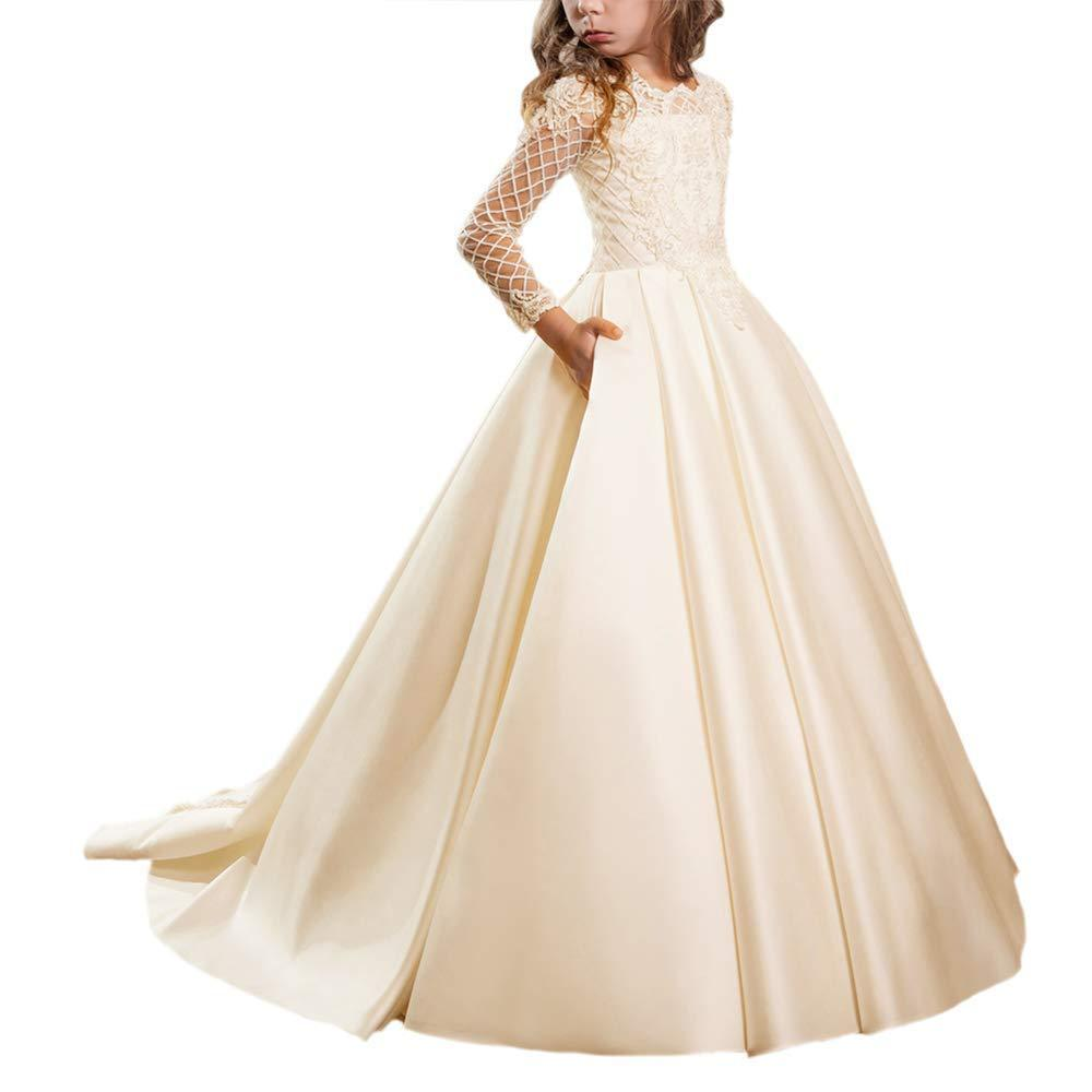 Flower girl dresses Christmas First Communion Dresses  with Long Sleeves Floor Length Button Draped Tulle Ball Gowns for Kids