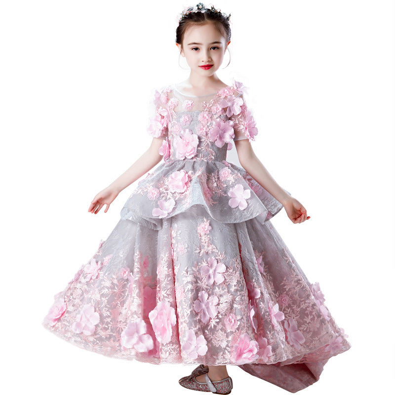 Fancy Pink Kids Girl  Flower Girls Dress Princess Party Pageant Formal Dress Prom First Communion Dresses Birthday Dress