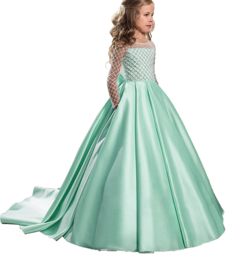 Flower girl dresses  Flower Girl Dress Floor Length Train Satin Button Draped Tulle Ball Gowns for Pageant Birthday Party