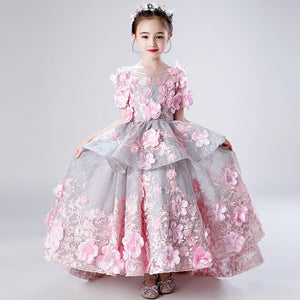 Fancy Pink Kids Girl  Flower Girls Dress Princess Party Pageant Formal Embroidery Dress Prom Multi-Large Skirt Birthday Dress