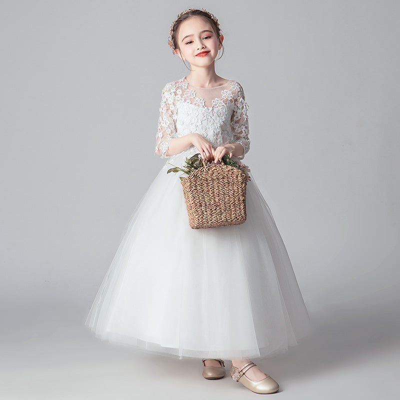 Flower Girl Dresses White Lace Short Sleeves  Princess Ball Gown Formal Party For 2-12 Year Old