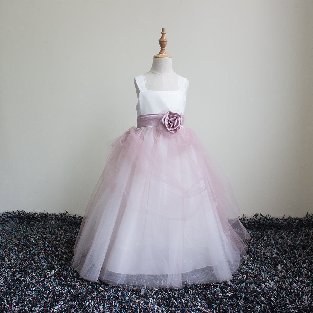 Flower Girl Dress Lace Girls Wedding Dress for Girls Ball Gown Floor-Length  Luxury Elegant Lace Pageant Tulle Ball Gowns for Baby Girls